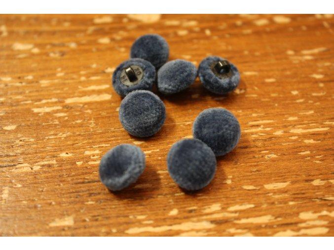 Šedo-modrý sametový knoflík