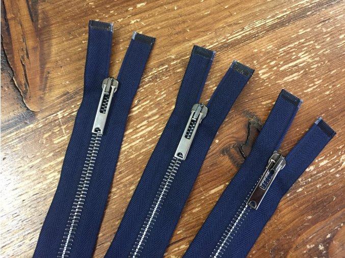 Modrý dělitelný zip s tmavým kovem,  50cm