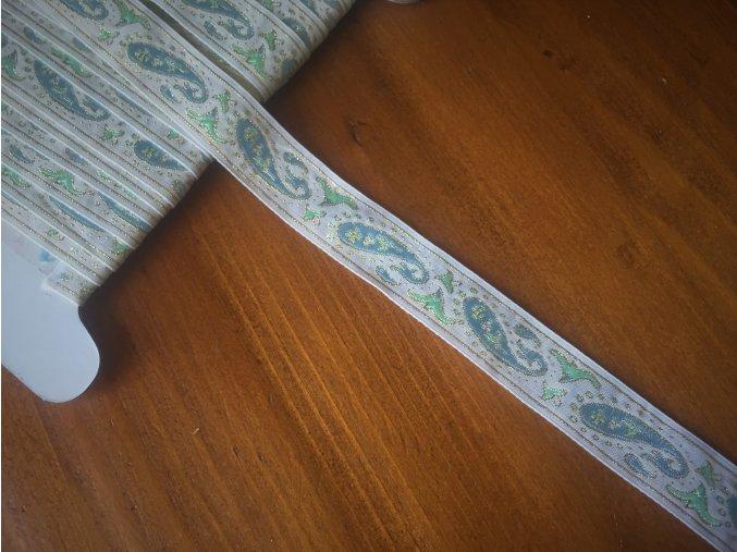 Žakárová stuha s lurexem, 15mm