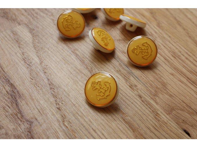 Žlutý knoflík s kotvou, 17mm
