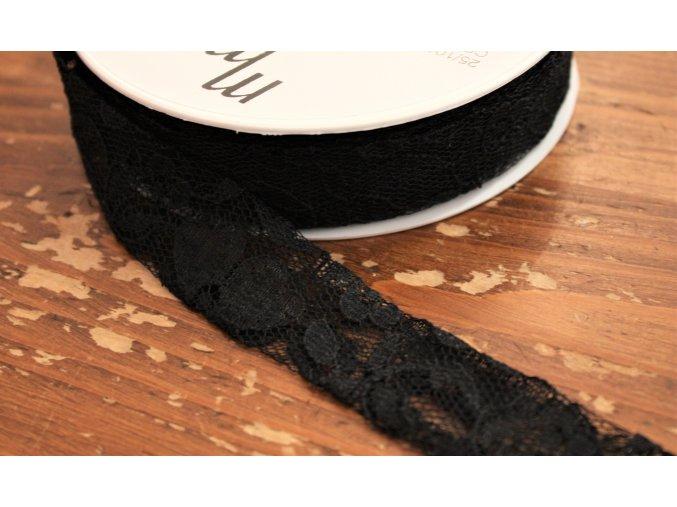 Šikmý proužek z černé krajky, 25mm