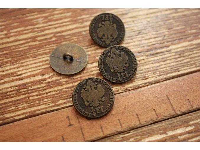 Mosazný knoflík ve tvaru mince