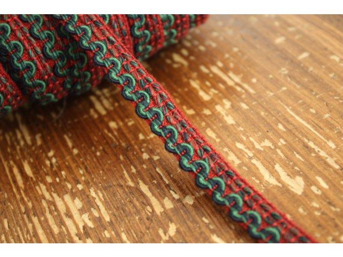 Bavlněný červeno-zelený prýmek