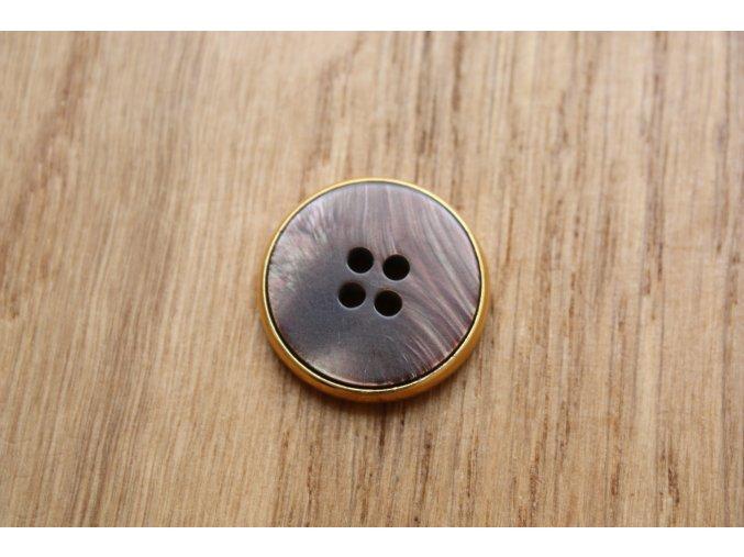 Zlatý knoflík s hnědou vrchní stranou 4D