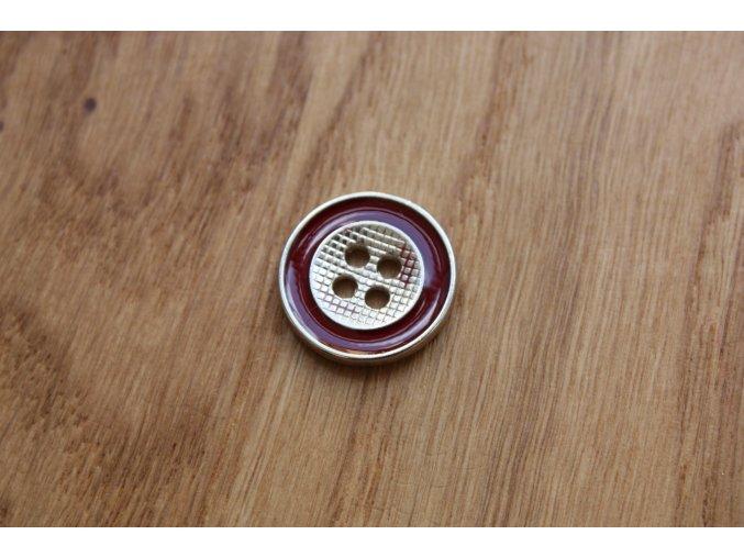Kovový knoflík s červeným kroužkem