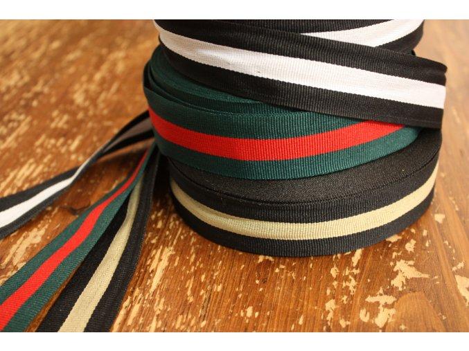 Pruhované rypsové stuhy design Gucci, 30mm