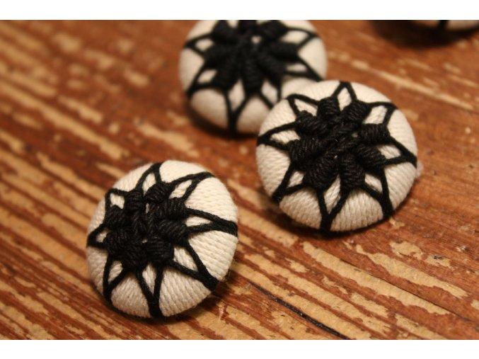 Ručně vyrobený knoflík, černo-bílý
