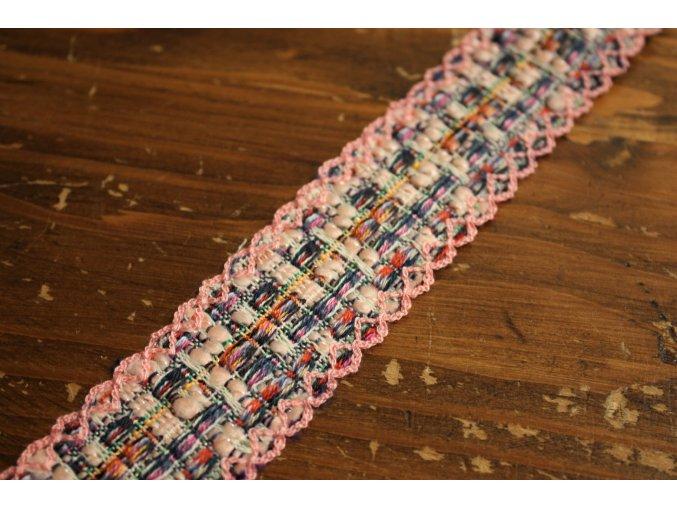 Růžový prýmek ve stylu Chanel, 30mm