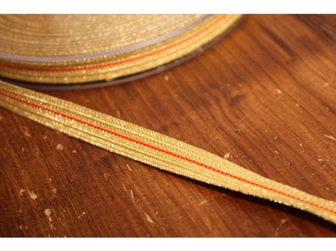 Zlatá stuha s červeným pruhem, 10mm