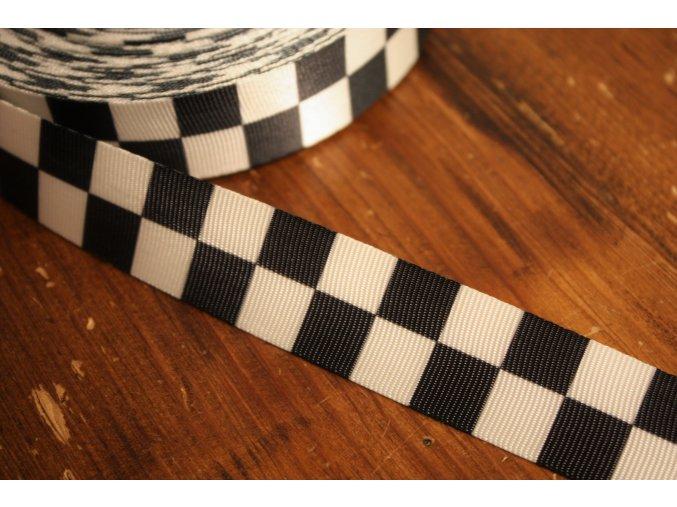 Černo-bílá žakárová stuha