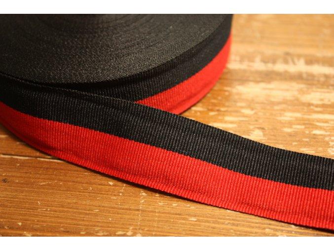 Černo-červená rypsová stuha, 30mm
