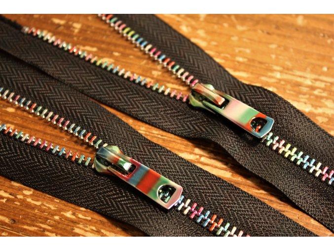Ozdobný zip s barevným kovem, 14cm, 50cm
