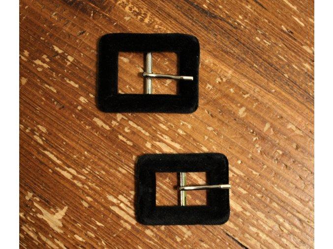 Černá sametová přezka, 20mm, 25mm