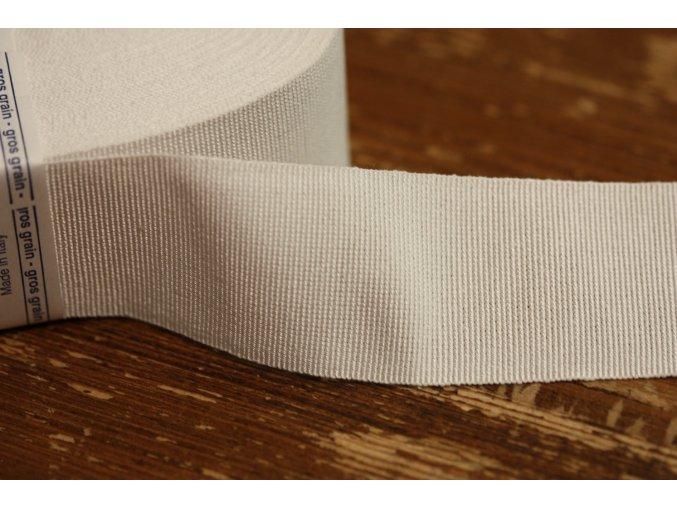 Bílá rypsová stuha, 40mm