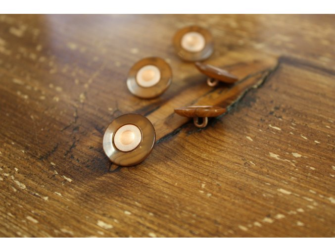 Lesklý knoflík imitace dřeva