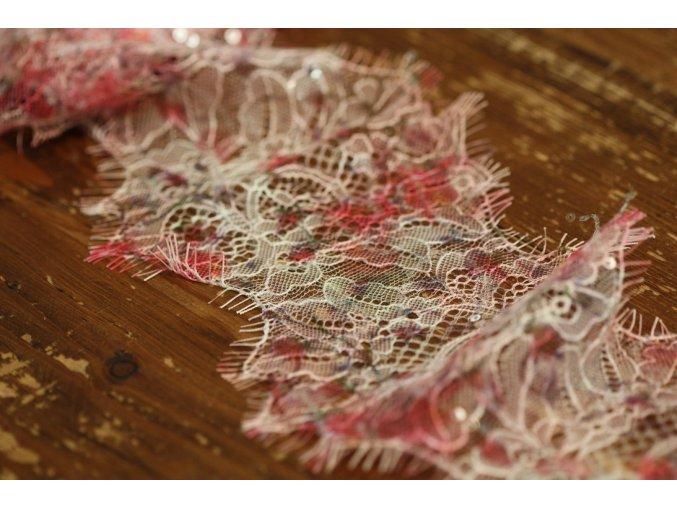 Růžová krajka s flitry, 12cm