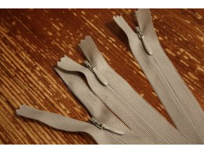 Šedo-béžový skrytý zip , 20cm  35cm, 55cm