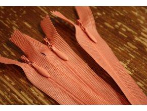 Korálově růžový skrytý zip , 20cm  35cm, 55cm