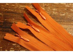 Skrytý zip v oranžové barvě, 20cm  35cm