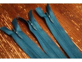Skrytý zip v tmavší tyrkysové barvě, 20cm  35cm, 55cm