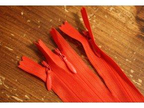 Červený skrytý zip, 20cm  40cm, 60cm