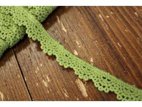 Zelená bavlněná krajka, 13mm