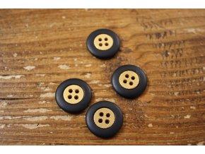 Černý knoflík se zlatým středem, 18 mm