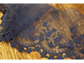 Tmavě modrá týlová krajka, 10,5cm