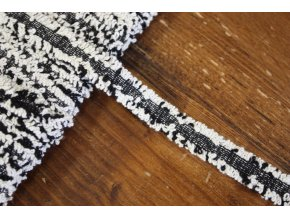 Černo-bíly prýmek s třepením, 10mm