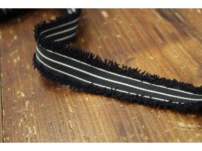 Černo-bílý prýmek s třepením, 25mm