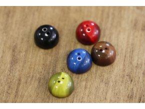 Půlkulaté knoflíky, pět barev, 18 mm