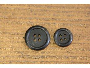 Černý matný knoflík, 2 velikosti