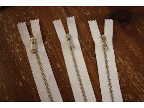 Bílý a smetanový zip T3, 60 cm