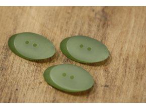 Dvoudírkový knoflík, zelený ovál