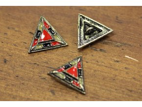 """Smaltovaný kovový knoflík """"trojúhelník"""""""