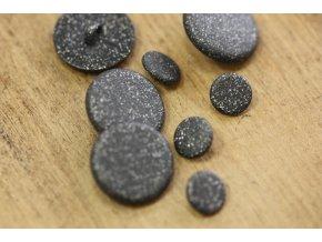 Černý knoflík s třpytkami ve dvou velikostech
