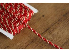 Červeno-zlatý kroucený provaz, 4mm