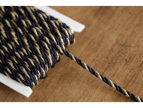 Tmavě modrý kroucený provaz, 4mm