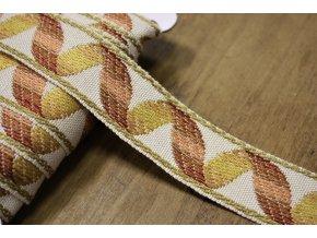 Žakárová stuha se zlatou niti