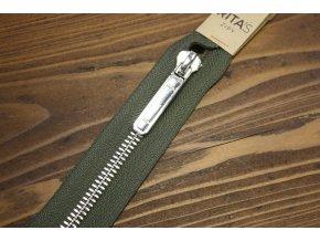 Khaki dělitelný zip se stříbrným kovem, 70cm