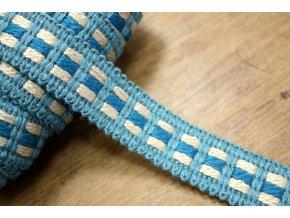 Žakárová stuha v odstínech modré, 15mm