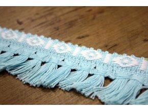 Tyrkysový bavlněný prýmek se střapci, 35mm
