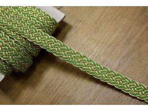 """Zlato-zelený prýmek """"copánek"""", 11mm"""