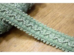 Provence zelená žakárová stuha, 23 mm