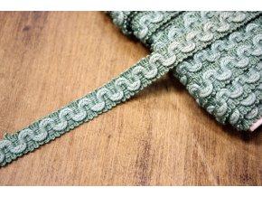 Zelená provence prýmek s vlnkou, 11 mm