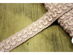 Růžová bavlněná stuha s volánkem, 20 mm