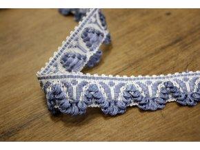 Blankytně modrý bavlněný prýmek s třepením do obloučku