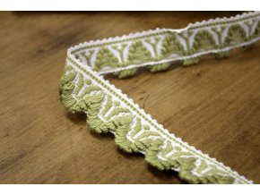 Světle zelený bavlněný prýmek s třepením, 25mm