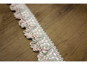 Růžovo-zelený bavlněný prýmek s třepením do obloučku
