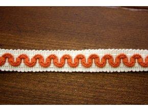Bílý prýmek s oranžovou vlnkou, 15 mm